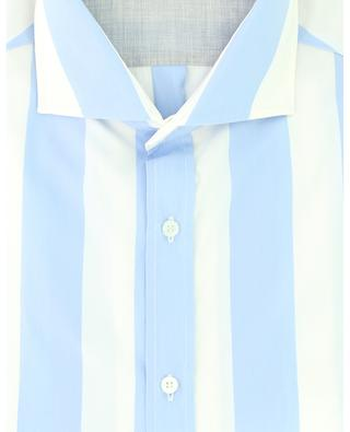 Short-sleeved slim-fit shirt in striped poplin BRUNELLO CUCINELLI