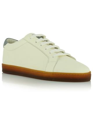 Low-top lace-up sneakers in grained leather BRUNELLO CUCINELLI
