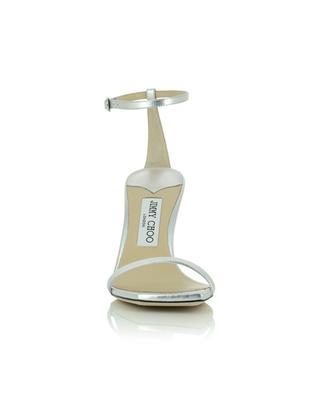 Sandalen aus silbernem Leder mit Absatz Marin 90 JIMMY CHOO
