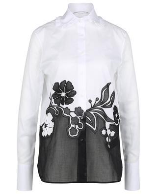 Bicolour cotton voile shirt with florals ERMANNO SCERVINO