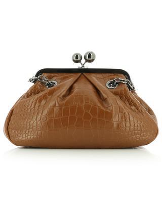 Pasticcino Ovatta Medium croc embossed leather shoulder bag WEEKEND MAX MARA
