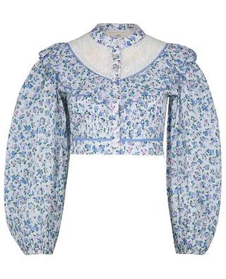 Top raccourci en coton fleuri Egan Blue Jay Song LOVESHACKFANCY