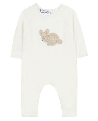 Cotton knit all-in-one with bunny embroidery TARTINE ET CHOCOLAT