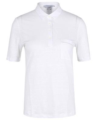 Polo à manches courtes en jersey de lin détail strass GRAN SASSO