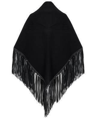 Wool shawl with leather fringes AGNONA