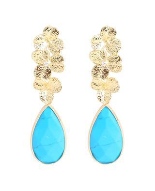 Boucles d'oreilles pendantes à pierre décorative turquoise MOON°C PARIS