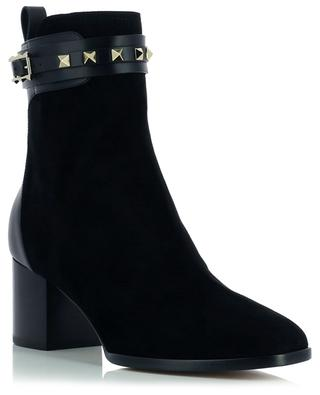 Rockstud 60 suede and leather block heel ankle boots VALENTINO