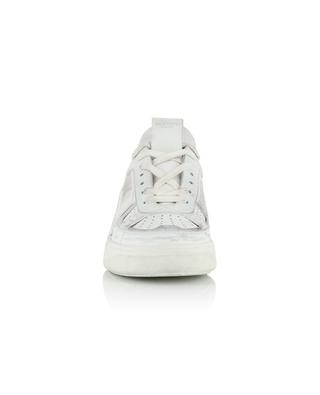 VL7N lace-up low-top sneakers in distressed white leather VALENTINO