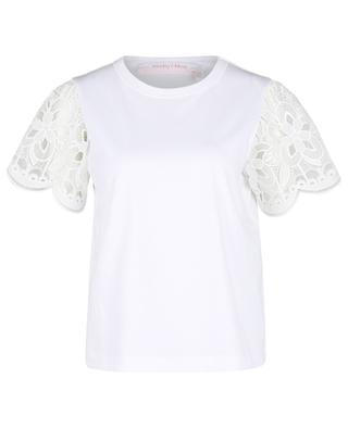 Jersey T-shirt with short lace sleeves SEE BY CHLOE