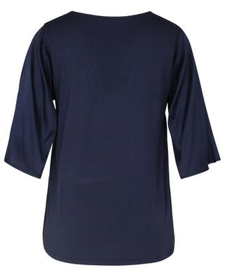 Short-sleeved satin and jersey V-neck T-shirt PRINCESS
