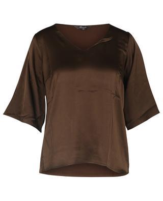 T-shirt à manches courtes et col V en satin et jersey PRINCESS