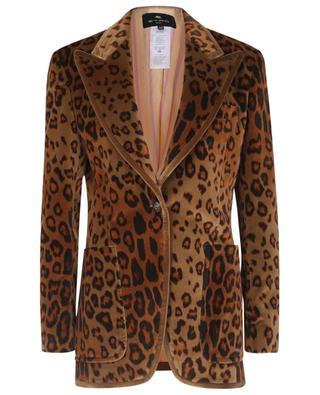 Blazer à boutonnage simple en velours imprimé léopard ETRO