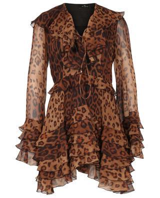 Minikleid aus Seidengeorgette mit Rüschen und Leopardenprint ETRO