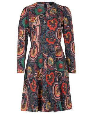 Kurzes ausgestelltes Kleid aus Wolle mit floralem Paisley-Print ETRO