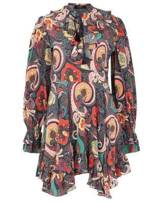 Minikleid aus Seide mit Paisley-Print und Rüschen ETRO