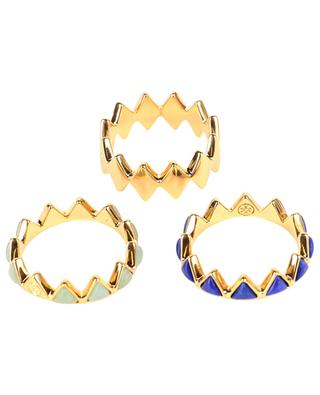 Puzzle stackable gold-plated rings TORY BURCH