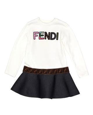Robe manches longues et ceinture imprimée fille FENDI
