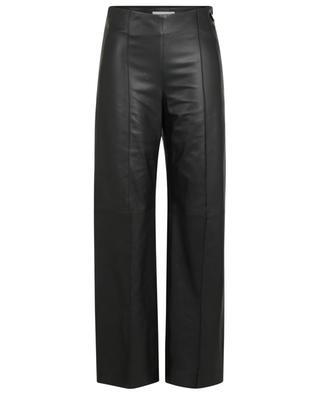 Hose mit weitem Bein und hohem Bund aus Nappaleder VINCE