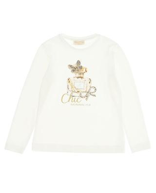 T-shirt with perfume bottle print for girls MONNALISA