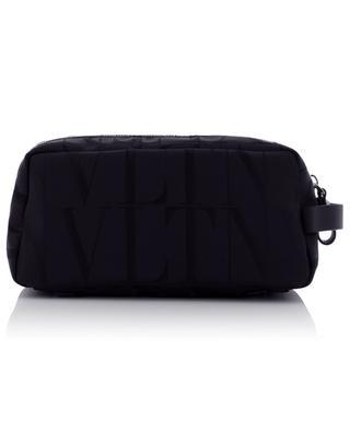 VLTN Times nylon jacquard and leather toiletry bag VALENTINO