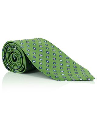 Fine diamond pattern printed silk twill tie LUIGI BORRELLI