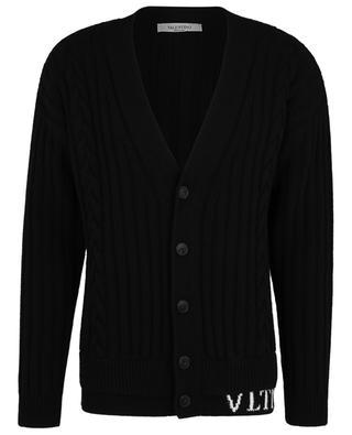 VLTN button-down V-neck cable knit cardigan VALENTINO