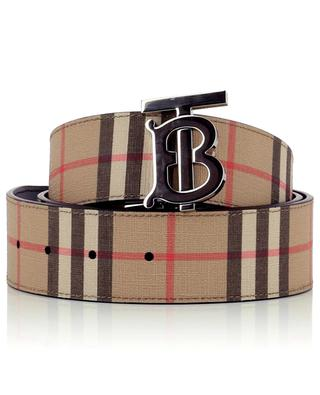 TB reversible leather and checked E-Canvas belt BURBERRY