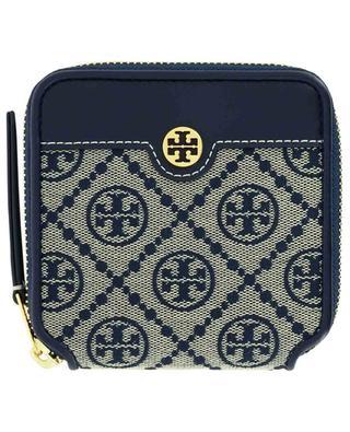 Brieftasche aus Jacquard und Leder T Monogram TORY BURCH