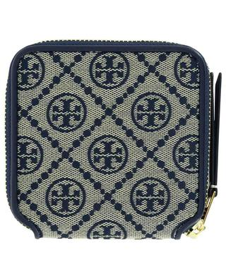 T Monogram jacquard and leather zip-around wallet TORY BURCH