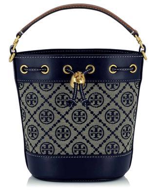 Handtasche aus Jacquard und Leder T Monogram Mini Bucket TORY BURCH