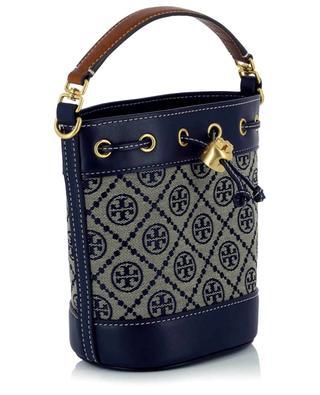 T Monogram Mini Bucket jacquard and leather bag TORY BURCH