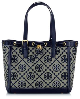 T Monogram Small jacquard and leather tote bag TORY BURCH