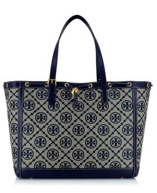 Shopper aus Jacquard und Leder T Monogram TORY BURCH