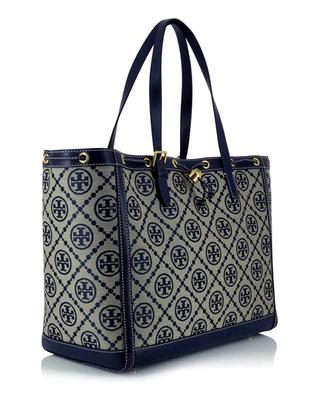 T Monogram jacquard and leather tote bag TORY BURCH