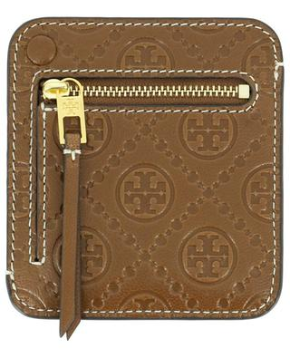 T Monogram embossed large leather card case TORY BURCH