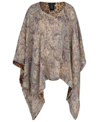 Poncho en deux couches de soie motifs leopard et Paisley ETRO