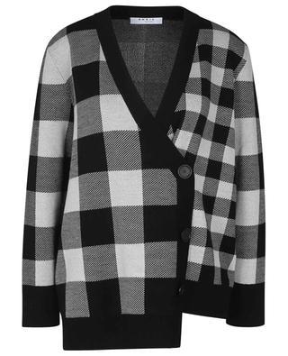 Strickjacke aus reiner Wolle mit Karos und asymmetrischer Knopfleiste AKRIS PUNTO