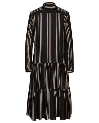 Striped midi-lenght tiered flounced dress AKRIS PUNTO
