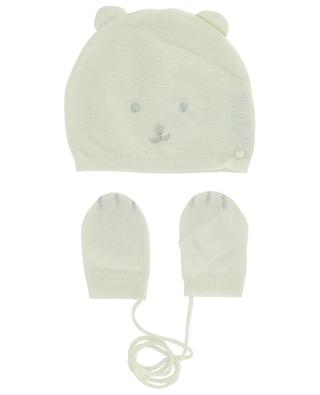 Teddy head beany and mittens baby set TARTINE ET CHOCOLAT