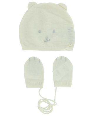 Set bonnet à tête d'ours et moufles bébé TARTINE ET CHOCOLAT