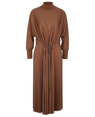 Pleated jersey midi dress with knit stand-up collar FABIANA FILIPPI