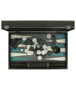 Backgammon-Set aus Holz und grauem Kunstleder MANOPOULOS