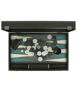 Backgammon set in wood and grey faux leather MANOPOULOS