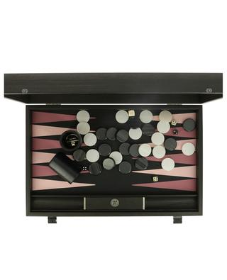 Mocha backgammon set in wood and faux leather MANOPOULOS