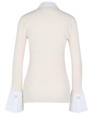 Rippstrick-Hemd mit Popeline-Kragen und Kristallknöpfen GANNI