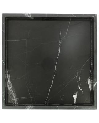 Viereckiges Tablett aus schwarzem Marmor STONED