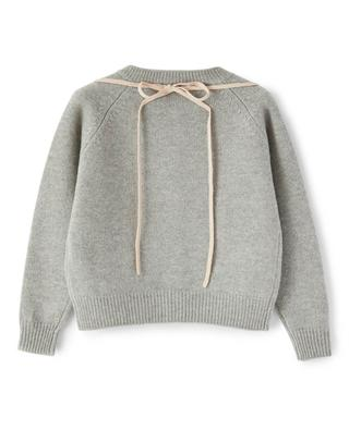 Ice skate embroidered girls' wool cardigan IL GUFO