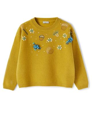Acorn and flower embroidered girls' jumper IL GUFO