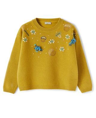 Pull fille en laine brodé de fleurs et de glands IL GUFO