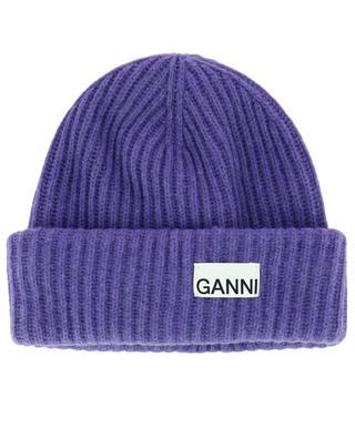 Recycled wool rib knit beanie GANNI